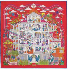 Spring 2016 Hermes Scarf Outlet With Free Shipping-Hermes La Maison des Carrés Silk Twill Scarf H892941S-11