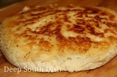 Old Fashioned Biscuit Bread - A quick biscuit bread, sometimes called hoecake bread, fried in bacon drippings in a screaming hot, cast iron skillet on top of the stove. from Deep South Dish . Skillet Bread, Pan Bread, Bread Baking, Bread Food, Quick Biscuits, Fried Biscuits, Baking Biscuits, Bread Recipes, Cooking Recipes