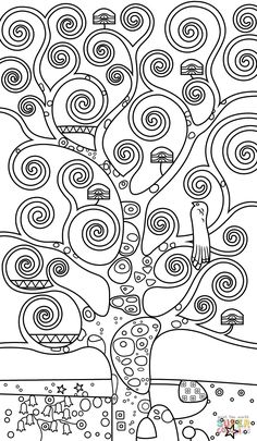 Tree of Life by Gustav Klimt coloring page from Gustav Klimt category Select from 24848 printable crafts of cartoons nature animals Bible and many Cartoon Coloring Pages, Animal Coloring Pages, Coloring Pages To Print, Free Printable Coloring Pages, Colouring Pages, Free Coloring, Coloring Sheets, Gustav Klimt, Art Klimt