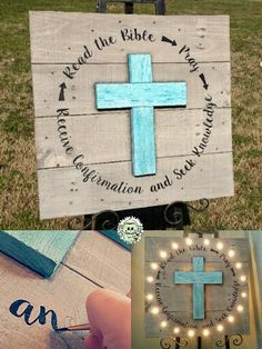 Handcrafted and Handpainted Original Relious Reclaimed WOOD Signage with backlit 3D cross and LED border. Www.facebook.com/monkeyfingerscrafts