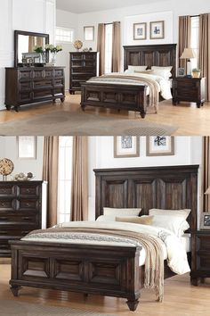 The rustic Mediterranean flare of the Sevilla is enhanced with a carefully aged walnut finish, massive picture frame moldings and gunmetal gray hammer finished hardware. This bed can be found in King and Queen sizes. It can be found at Great American Home Store in the Memphis, Cordova, TN, Southaven, Olive Branch, MS area. #bed #bedroom #home #rustic