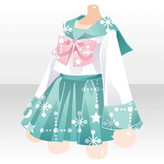 Ropa//uniforme outfit dress skirt design with pink light blue/turquoise and white sparkles bow