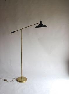 Italian brass adjustable floor lamp