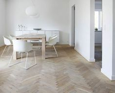white // herring bone floor