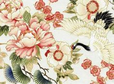 From Red Rooster Studio's Tadashi collection, this print features cranes and Asian style flowers on a soft cream ground. For reference, the ...