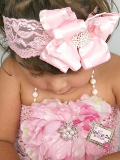 Baby Girl fancy  Pink double ruffle bow ,lace headband, ,Baby Headbands.Girl Headbands.. $15.90, via Etsy.