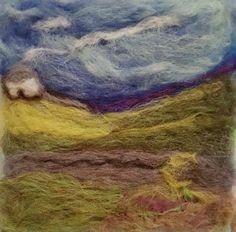 Needlefelt landscape created by ajbarnesart. Different Media, Beginner Painting, Needle Felting, Landscape, Artist, Scenery, Artists, Corner Landscaping, Felting