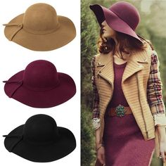 Summer Wool Foldable Retro Style Wide Floppy Brim Hats