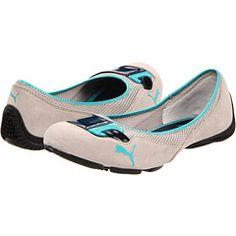 PUMA Saba Ballet DC3 flats in string gray/insignia blue
