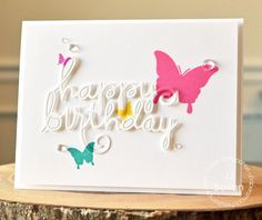 Card by PS DT JJ Bolton using PS Happy Birthday Words dies, Graceful Beauties, Luminous Spring