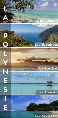 Les Marquises, les Australes, Les Tuamotu, Les Gambier, La Société ? Vous venez voyager en Polynésie française ? Lesquels de ces archipels et îles allait vous visiter ? Je vous propose des itinéraires de voyage en fonction de votre temps, budget et envies !