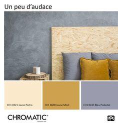 Le Bleu Podestat - CH1 0435 sera magnifié par le jaune, quelle qu'en soit la hauteur de ton. Ces deux couleurs complémentaires révéleront une déco audacieuse, à mixer avec des matières naturelles. www.chromaticstore.com
