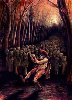 Version 2 of the Pied Piper. I wanted to create a darker atmosphere so i changed some shadows and i balanced light and colors using Photoshop. Pied Piper of Hamelin II Psy Art, Dark Pictures, Arte Horror, Horror Art, Fairytale Art, Carl Jung, You Draw, Dark Fantasy, Fantasy Art
