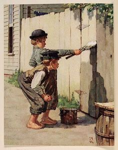 Great Holiday Gift Norman Rockwell Vintage Illustrated of Tom Sawyer Whitewashing a Fence Art Decor Perfect For Den, Home! by VintagePrintscafe on Etsy