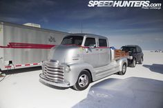 '50s Chevy Crewcab COE used to haul a Ferrari salt flat racer