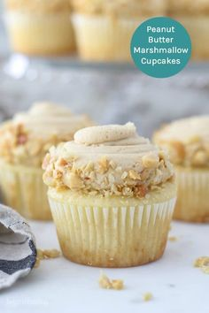These Peanut Butter Marshmallow Cupcakes are moist vanilla cupcakes, filled with a sticky marshmallow crème and topped with a fluffy peanut butter and marshmallow frosting and chopped peanuts Marshmallow Cupcakes, Marshmallow Creme, Whipped Peanut Butter, Peanut Butter Frosting, Peanut Butter Brownies, Peanut Butter Filled Cupcakes, Cupcake Recipes, Cupcake Cakes, Dessert Recipes