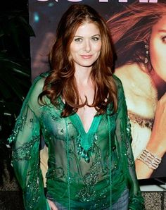 Debra Messing ♥ ♥ ♥ The Will & Grace actress exposed her nude flower-shaped pasties under a sheer green top at her Gotham Magazine cover party in Beverly Hills on March Celebrities Exposed, Beautiful Celebrities, Celebrity Photos, Celebrity Style, Celebrity Babies, Red Hair Trends, Brooklyn, Priyanka Chopra Hot, Debra Messing