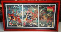 Vintage Asian triptych framed with linen matting, conservation glass, and @larsonjuhl's Komodo! #art #pictureframing #customframing #denver #colorado