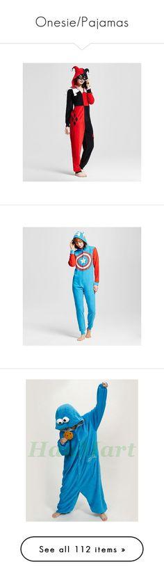 """""""Onesie/Pajamas"""" by imanerd2298 ❤ liked on Polyvore featuring intimates, sleepwear, pajamas, red, union suit, red pajamas, red pjs, red union suit, blue and halloween"""