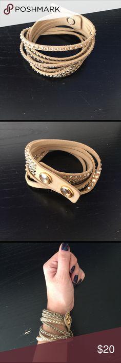 4f6f978b9 Swarovski beige fabric crystal stud wrap bracelet Swarovski crystal stud  beige fabric wrap bracelet Swarovski Jewelry
