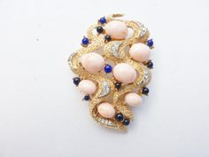 Trifari brooch textured gold tone with pink and blue cabochons AA693 by MeyankeeGliterz on Etsy