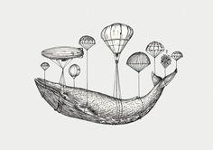 hot air balloon ship and whale - Google Search
