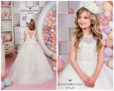 Vestido de niña flor marfil - boda cumpleaños día de fiesta de Dama de honor tul marfil encaje vestido