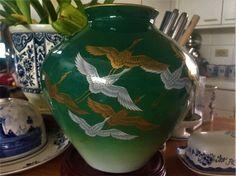 Large Koransha Vase 鶴 Tsuru Red-Crowned Cranes Gold & Silver on Green Jug Fine Porcelain Vaas 白鷺 Egret Urn 鷺 Heron Jar Arita Japan *Free SH by GuamAntiquesNstuff on Etsy