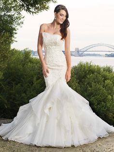 Charming Organza Strapless Mermaid Sleeveless Floor Length Wedding Dresses