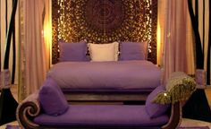 purple and carved headboard