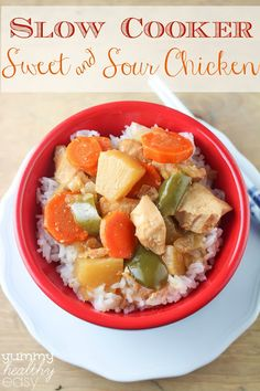 Slow Cooker Sweet & Sour Chicken - perfect meal for a busy day from YummyHealthyEasy.com
