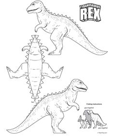 Tyrannosaurus Rex Cut Out - Free Printable Paper Model Template Paper Dinosaur, Dinosaur Crafts, 3d Paper, Paper Toys, Paper Crafts, Templates Printable Free, Free Printables, Jurassic Park Party, 3 Year Old Activities
