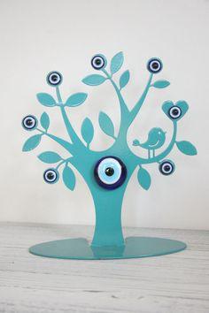 TURKISH EVIL EYE NAZAR TREE OF LIFE TABLE TOP DESK DECORATION ORNAMENT WITH BIRD