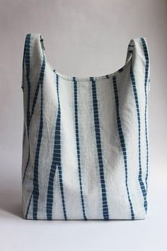 Stripes Shibori Plant Dyed Cotton Tote Bag Japanese Bag by Rejell Textile Dyeing, Japanese Bag, Shibori Tie Dye, Indigo Dye, Fabric Bags, How To Dye Fabric, Handmade Bags, Handmade Leather, Cotton Tote Bags
