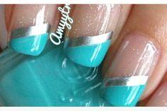 Tiffany Nails #aqua #silver #stripes