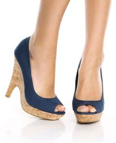 Usually not into the cork, but these peep toe stiletto/wedged heels are cute!