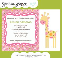giraffe baby shower invite