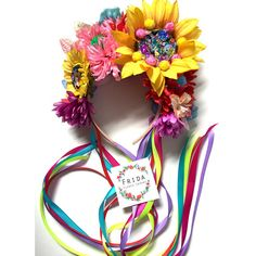 Sequin Sunflower Festival Flower Crown with Rainbow Ribbons & Pom Poms Perfect for festivals! Hair band - One size fits all. Handmade and Unique, designs may vary slightly but all include sequin sunflower, Pom Poms, ribbon and rainbow flowers :-) Ple Flower Headdress, Floral Headpiece, Rainbow Ribbon, Rainbow Flowers, Flower Crown, Flower Art, Felt Crown, Glitter Crafts, Amazing Flowers