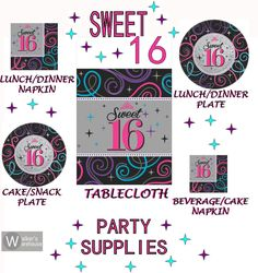 Sweet Sixteen Lunch Dessert Plate Napkin Plastic Table Cover Birthday Party Pack