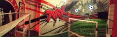 children / teen / Kids Bedroom Graffiti mural - #handpainted #graffiti #featurewall #design #graffitibedroom #interior #design #football #sheffield #sheffieldunited #dugout #theme #bedroom