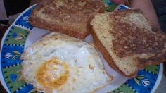 French toasts with grass fed butter and grass fed butter fried egg.
