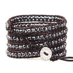 Kelitch Fashion Lady Hematite Beads 5 Wrap Bracelet Bangle Leather Chain Jewelry #Kelitch #BangleBeaded