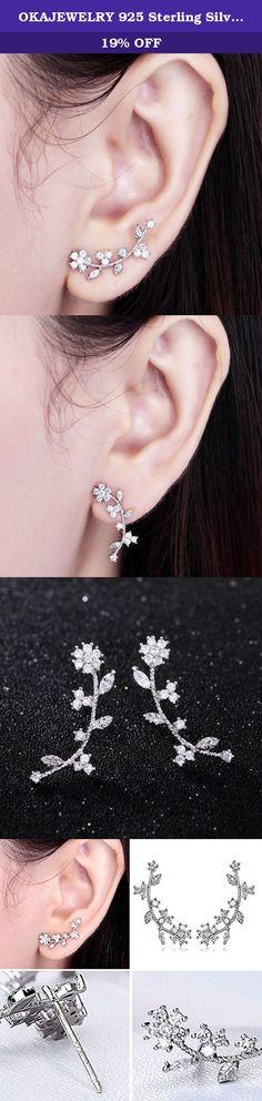 4fd275c5a OKAJEWELRY 925 Sterling Silver Post Cubic Zirconia Flower Ear Sweep Wrap Cuff  Earrings (silver-