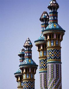 Towers on the main entrance of Hz. Masume shrine in Qom, Iran