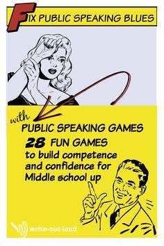 Public speaking games ebook: 28 fun speech games & activities for middle school to adult; complete with printable resources, and full how-to guides Public Speaking Activities, Speaking Games, Best Speeches, Middle School Ela, Understanding Anxiety, Leadership Roles, Teacher Resources, Helping Others, Elementary Schools
