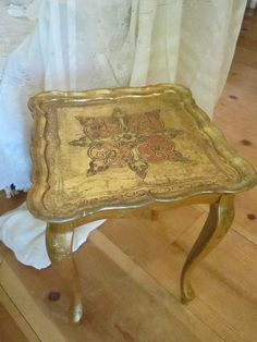 Vintage Italian florentine gold tole table by Vintagewhitecottage