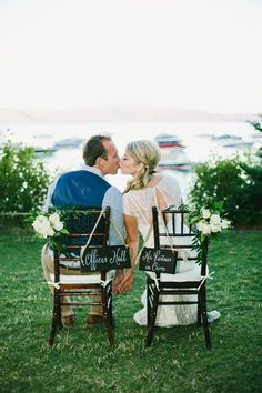 wedding chairs - photo by onelove photography http://ruffledblog.com/chic-navy-wedding-in-tahoe