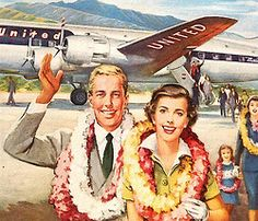 Hawaiian Arrival - detail from 1949 United Airlines ad.