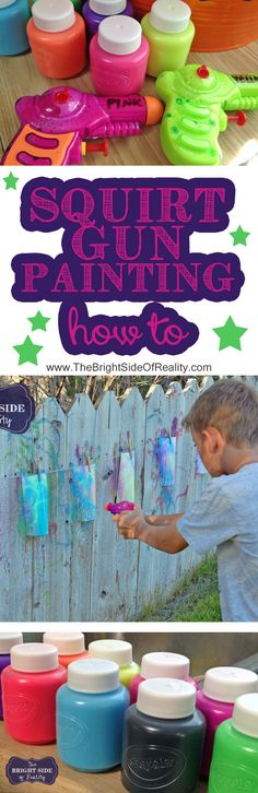 This is the BEST summer diy kids craft idea! Squirt gun painting was so much fun and this post has good tips and a genius way to fill water guns with paint, the best squirt gun paint to use, and everything else you need to know for a successful squirt gun party. #sp | Squirt Gun Games | kids crafts |