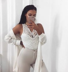 Elegant and sexy outfit. White lace top + light grey/sand pants=perfect nude look